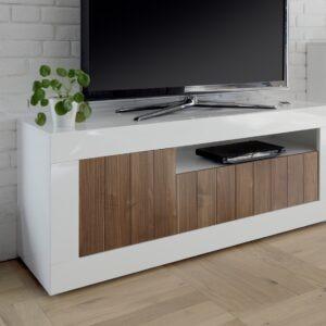 porta tv moderno bianco lucido ante noce dark